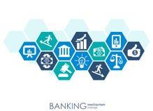 Bankowość mechanizm Abstrakcjonistyczny tło z związanymi przekładniami i zintegrowanymi płaskimi ikonami symbole dla pieniądze, k Zdjęcie Royalty Free