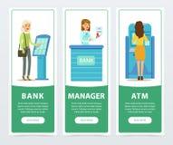 Bankowości usługa set, terminal, ATM, rejestraci i zapłaty, personel, klienci, bank pracujemy sztandary dla reklamowej broszurki Zdjęcie Stock