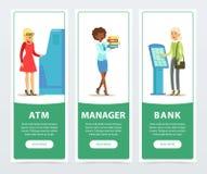 Bankowości usługa set, terminal, ATM, rejestraci i zapłaty, pracownik, klienci, bank pracujemy sztandary dla reklamować Fotografia Royalty Free