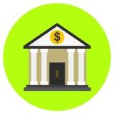 Bankpictogram in in vlakke die stijl op grijze achtergrond wordt geïsoleerd De bouw van symbool voor uw ontwerp, embleem, UI Vect Stock Foto