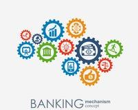 Bankrörelsemekanism Abstrakt bakgrund med förbindelsekugghjul och integrerade plana symboler symboler för pengar, kort, bank Vektor Illustrationer