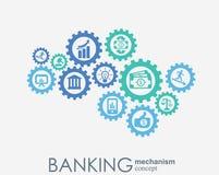 Bankrörelsemekanism Abstrakt bakgrund med förbindelsekugghjul och integrerade plana symboler symboler för pengar, kort, bank Stock Illustrationer