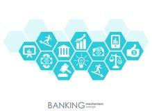 Bankrörelsemekanism Abstrakt bakgrund med förbindelsekugghjul och integrerade plana symboler symboler för pengar, kort, bank Royaltyfri Illustrationer