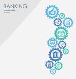 Bankrörelsemekanism Abstrakt bakgrund med förbindelsekugghjul och integrerade plana symboler symboler för pengar, strategi Stock Illustrationer