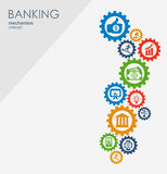 Bankrörelsemekanism Abstrakt bakgrund med förbindelsekugghjul och integrerade plana symboler symboler för pengar, strategi Royaltyfri Bild