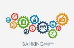 Bankrörelsemekanism Abstrakt bakgrund med förbindelsekugghjul och integrerade plana symboler symboler för pengar, strategi, kort Vektor Illustrationer