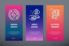 Bankrörelseservice, mobila bankrörelsen, vertikala kort för elektronisk kommers med starka metaforer vektor illustrationer