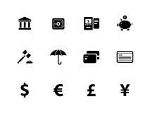 Bankrörelsesymboler på vit bakgrund. Royaltyfria Bilder