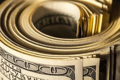 Closeup of Bankroll. Bankroll currency closeup wealth accumulation us currency dollar bills wealth Royalty Free Stock Photography