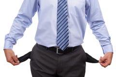 Bankrotter Geschäftsmann mit leeren Taschen Stockbilder