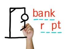 Bankrupt игры Hangman стоковая фотография rf