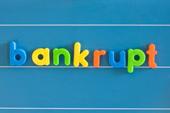 Bankrupt. Word written in metallic letters royalty free stock photo
