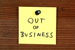Bankrupt. Sticky note with thank you message - out of business bankrupt company. Bulletin board Stock Photo