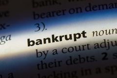Bankrupt. Word in a dictionary.  concept royalty free stock image