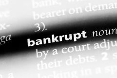 Bankrupt. Word in a dictionary.  concept stock image