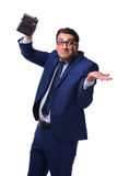 The bankrupt broke businessman with empty wallet on white background Royalty Free Stock Image