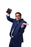 The bankrupt broke businessman with empty wallet on white background Stock Photography