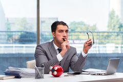The bankrupt broke businessman with piggy bank Royalty Free Stock Photos