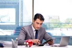 The bankrupt broke businessman with piggy bank Royalty Free Stock Images
