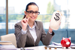 The bankrupt broke businesswoman with piggy bank Royalty Free Stock Photography