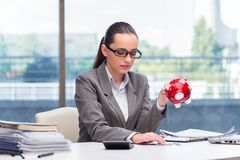 The bankrupt broke businesswoman with piggy bank Royalty Free Stock Photo