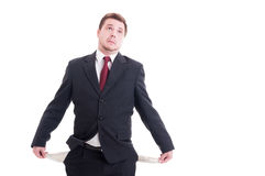 Bankrupt, broke or poor businessman, accountant and financial ma Stock Photos