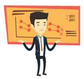 Bankrupt business man vector illustration. Stressed asian bankrupt standing on the background of decreasing chart. Bankrupt businessman with spread arms Stock Photography