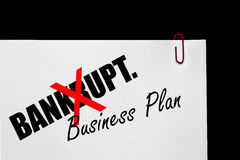 Bankrupt or Business Plan?. Bankrupt or Business Plan - Business Concept royalty free stock image