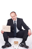 Bankrupt businessman. Asks for help-isolated on white stock photos