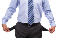Bankrupt businessman with empty pockets stock images