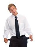 Bankrupt businessman isolated on white Royalty Free Stock Image
