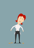 Bankrupt businesswoman with empty pockets Royalty Free Stock Photo
