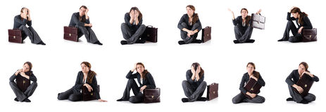 The bankrupt businesswoman isolated on white Stock Photo