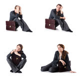 The bankrupt businesswoman isolated on white. Bankrupt businesswoman isolated on white Royalty Free Stock Images