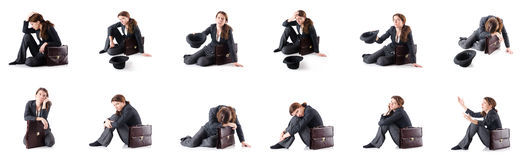 The bankrupt businesswoman isolated on white. Bankrupt businesswoman isolated on white Royalty Free Stock Photography
