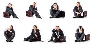 The bankrupt businesswoman isolated on white. Bankrupt businesswoman isolated on white Stock Photo