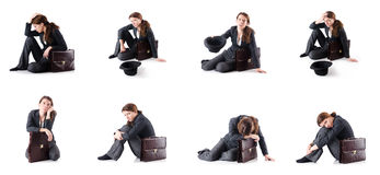 The bankrupt businesswoman isolated on white. Bankrupt businesswoman isolated on white Stock Image