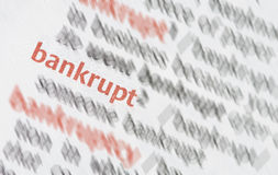 Bankrupt. Close-up of the business word bankrupt stock photo