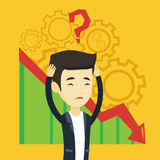 Bankrupt clutching head vector illustration. Bankrupt clutching head on the background with cogwheels and chart going down. Man with big question mark above his Royalty Free Stock Photos