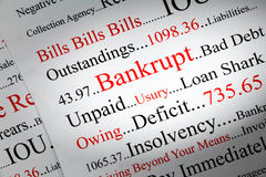 Bankrupt Concept. A conceptual look at bankrupty and owing money royalty free stock image