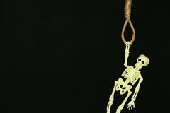 Bankrupt concept, rope noose with hangman's knot hanging in front, Halloween background Stock Photo