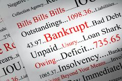 Bankrupt Concept with Words Red and Black. Bankrupt Concept - a conceptual look at bankrupty and owing money stock photography