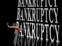 Bankrupt, failing business. 3D illustration, background, wallpaper depicting bankruptcy, surreal presentation of pain and failure, crying out loud for help Stock Image