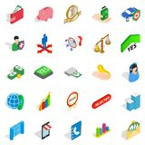 Bankrupt icons set, isometric style. Bankrupt icons set. Isometric set of 25 bankrupt vector icons for web isolated on white background Royalty Free Stock Photos