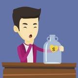Bankrupt man looking at empty money box Royalty Free Stock Image