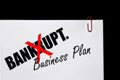 ¿Bankrupt o plan empresarial? Imagen de archivo libre de regalías