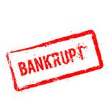 Bankrupt red rubber stamp isolated on white. Stock Photography