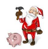 Bankrupt santa claus. Santa Claus is going to break his piggy bank stock photography