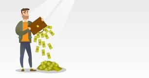Bankrupt secouant l'argent de sa serviette illustration libre de droits