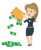 Bankrupt shaking out money from her briefcase. Royalty Free Stock Photos